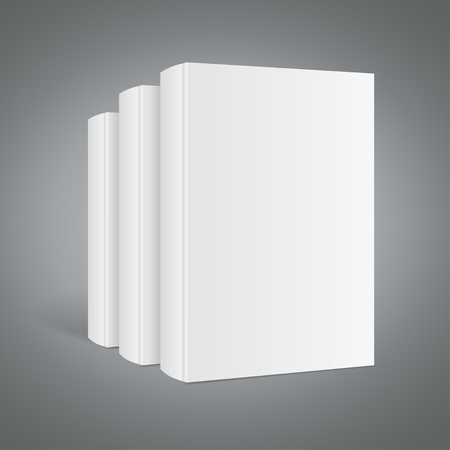 Template White Blank Book Stack. Realistic Mockup. Vector illustration