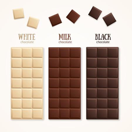 barra de bar: Barra de chocolate blanco - leche, blanco y oscuro. ilustración vectorial