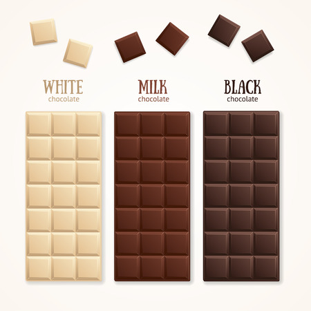 Chocolate Bar Blank - Milk, White and Dark. Vector illustration