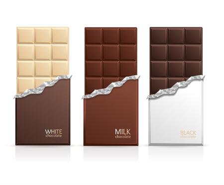 Chocoladepakket Bar Blank - melk, wit en donker. Vector illustratie Stock Illustratie