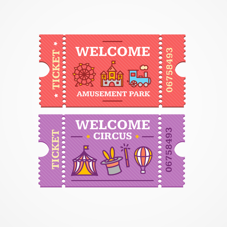 admission: Circus and Amusement Park Tickets Flat Design Style Icon Set. Vector illustration
