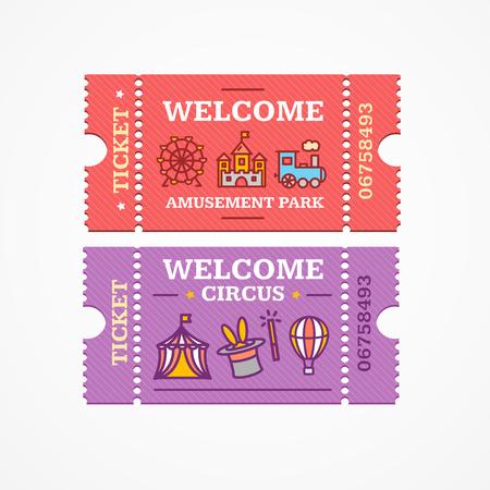 amusement: Circus and Amusement Park Tickets Flat Design Style Icon Set. Vector illustration