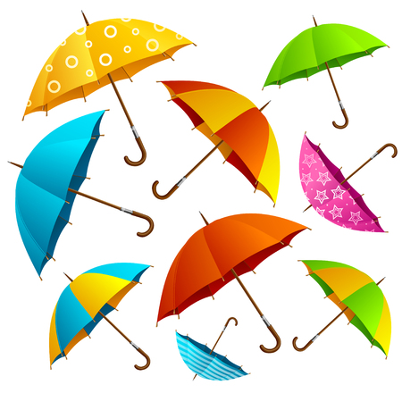 raindrops: Falling Color Umbrellas Background. Free Fly in the Air. Vector illustration
