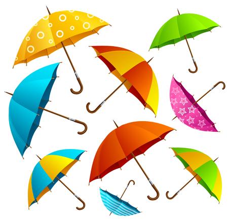 gotas de agua: La caída de los paraguas del color de fondo. La mosca libera en el aire. ilustración vectorial Vectores