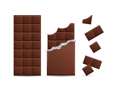 Realista tableta de chocolate negro con piezas mordido. ilustración vectorial