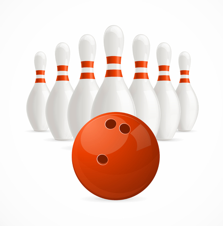 sphere standing: Group of White Bowling Pins and Ball. Vector illustration