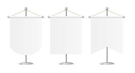 spire: Template White Blank Realistic Pennant on Steel Spire Pedestal Set. Vector illustration