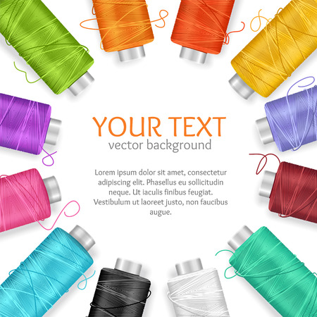 Thread Spool Banner Circle Border with Place for Your Text. Vector illustration