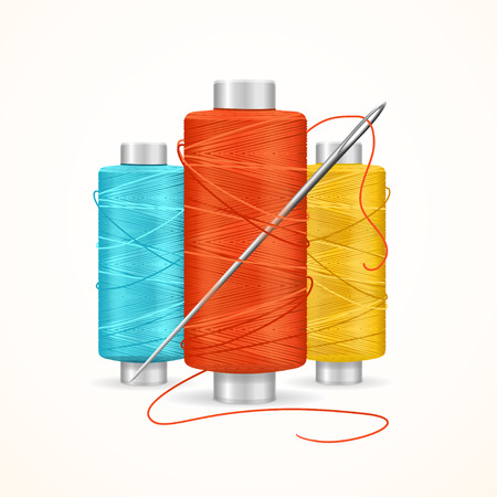 Thread Spool Set for Sewing, Homemade. Vector illustration