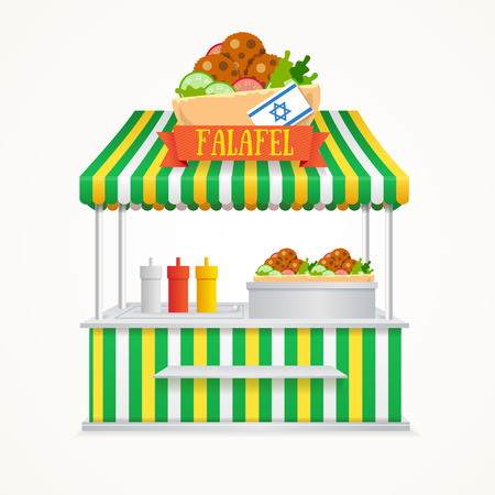 street symbols: Falafel Street Market. Fast Food Kiosk. Traditional Cuisine with the Flag of Israel. Vector illustration