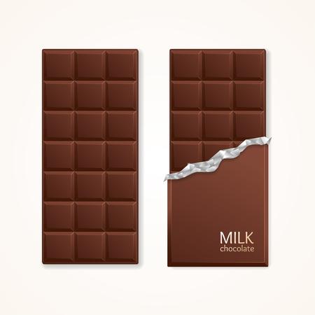 Milk Chocolate Package Bar Blank. Vector illustration