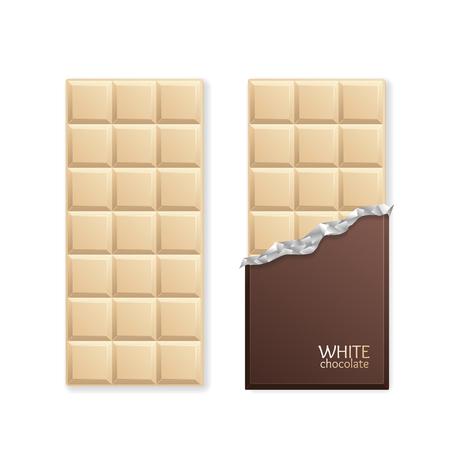 Bianco Chocolate Package Bar vuoto. Illustrazione vettoriale Vettoriali