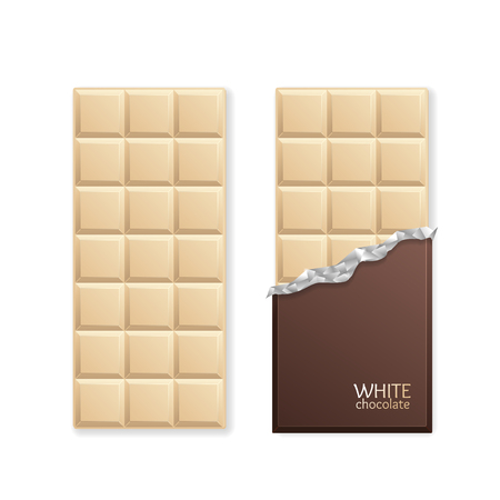 chocolate box: White Chocolate Package Bar Blank. Vector illustration