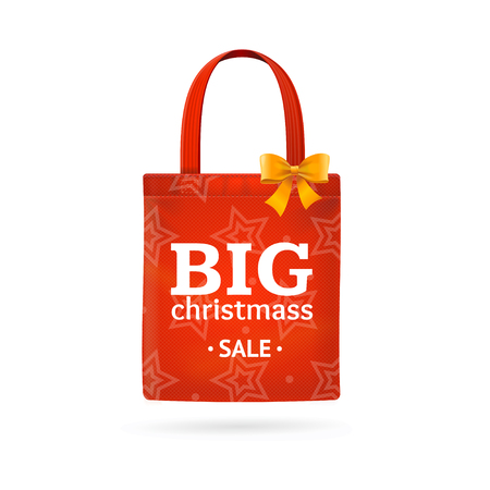christmass: Christmass Sale Fabric Cloth Bag Tote. Best Offer. Vector illustration