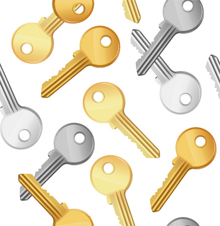 security symbol: Golden and Silver Key Falling Background Pattern. Symbol of Security or Privacy Vector illustration