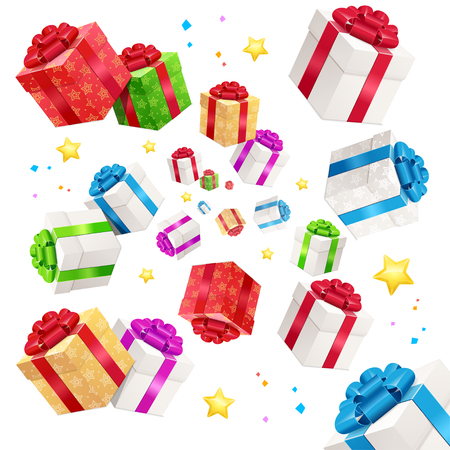 Present Boxes Background Holiday Birthday. Tradition To Congratulate. Vector illustration