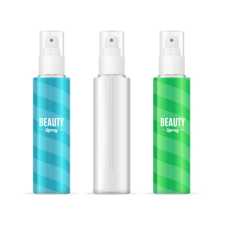 sprayer: Beauty Spray Can Package Set. Realistic Cosmetic Bottle. Vector illustration Illustration