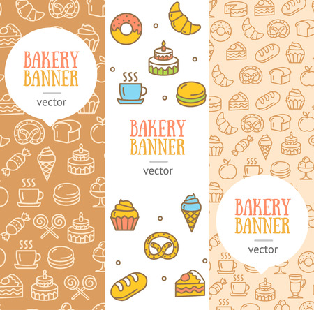 line material: Bakery Banner Flyer Vertical Set Thin Line Pixel Perfect Art. Material Design. Vector illustration