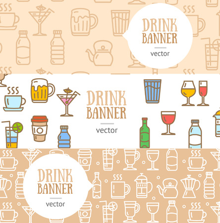 line material: Drink Banner Flyer Horizontal Set Thin Line Pixel Perfect Art. Material Design. Vector illustration