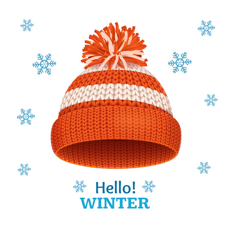 knitten: Knitted Woolen Red Hat for Winter Season Card. Vector illustration