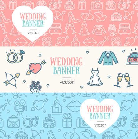 line material: Wedding Banner Flyer Horizontal Set Thin Line Pixel Perfect Art. Material Design. Vector illustration