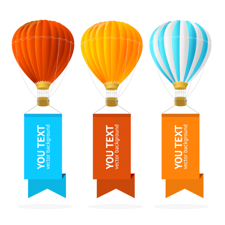 airship: Hot Air Balloon Banner Fly with Place For Your Text. Vector illustration
