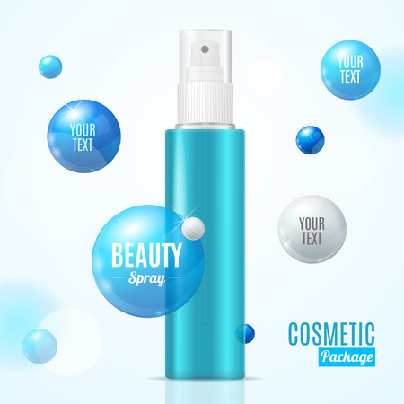 Beauty Spray Can Package Essence Bottle Blue Plastic with Place for Text. Vector illustration
