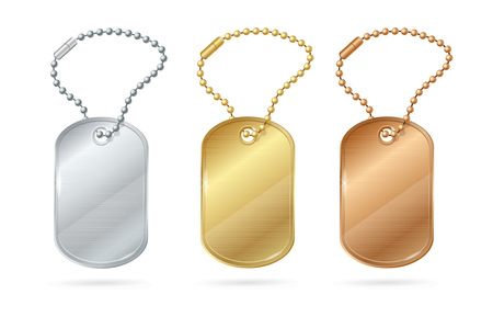 blank metallic identification plate: Cat Dog Animal Tags or Medallion of Different Metal. Vector illustration