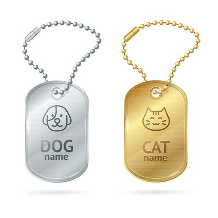 blank metallic identification plate: Cat Dog Animal Tags or Medallion. Cute Pet. Vector illustration