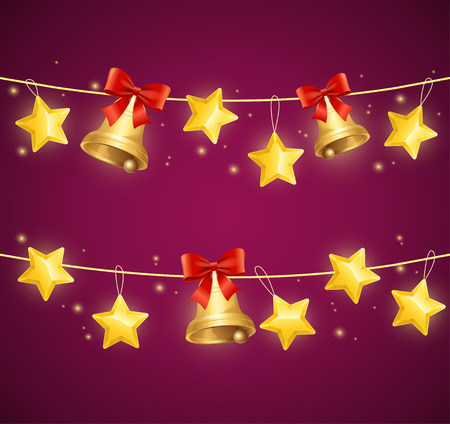 christmas star background: Christmas Background with Star and Golden Bells. Vector illustration Stock Photo