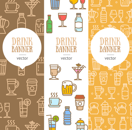 line material: Drink Banner Flyer Vertical Set Thin Line Pixel Perfect Art. Material Design. Vector illustration