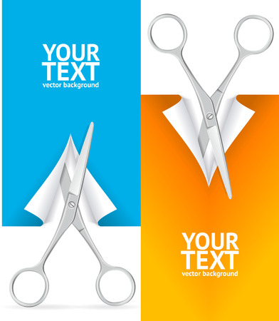 ready to cut: Scissor Cut Paper Banner Vertical Set Ready for Your Business. Vector illustration Stock Photo