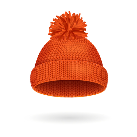 knitten: Knitted Woolen Red Hat for Winter Season. Vector illustration Stock Photo