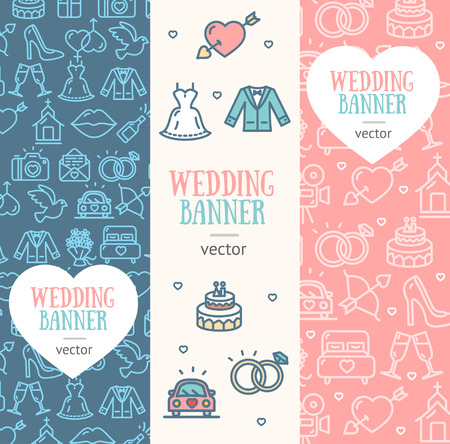 line material: Wedding Banner Flyer Vertical Set Thin Line Pixel Perfect Art. Material Design. Vector illustration