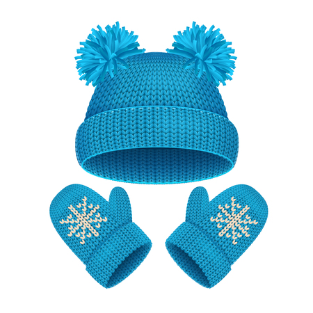 winter clothing: Blue Hat and Mitten Set Winter Accessories Warm Clothing. Vector illustration