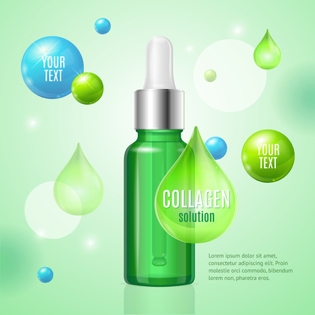 Collagen Package Card with Place for Your Text Dropper Bottle. Vector illustration