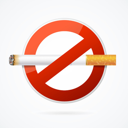 abstain: No Smoking Sign with Realistic Cigarette for Poster . Vector illustration Illustration
