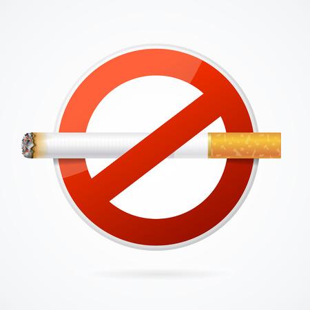 salud publica: Señal de no fumar con cigarrillo realista para el cartel. Ilustración vectorial