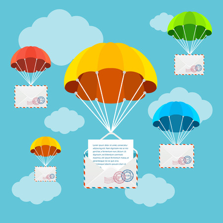 Mail or Airmail Delivery Parachute in Sky. Concept Of Fast Correspondence Vector illustration Illustration