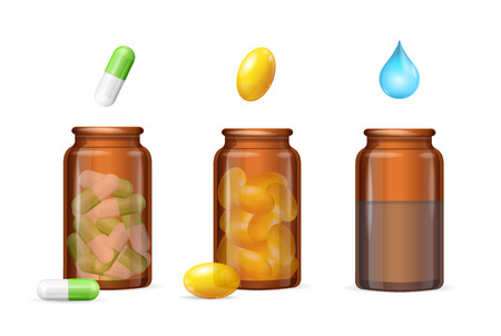 Pills Capsules in Medical Glass Brown Bottle Set. Vector illustration Illustration