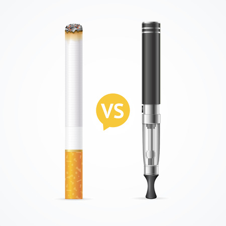 Smoking vs Vaping. Electronic Cigarette or Vaporizer Device and Tobacco Cigar. Vector illustration Stock Illustratie
