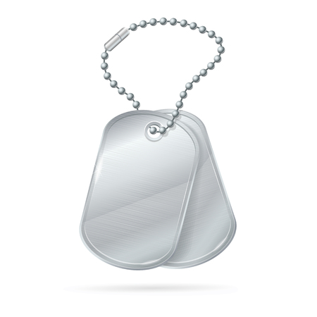 blank metallic identification plate: Military ID Tag Silver Army Medallion Set. Illustration