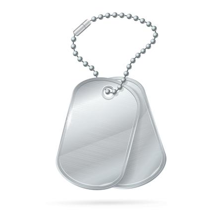 Military ID Tag Silver Army Medallion Set. Illustration