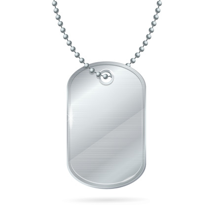 blank metallic identification plate: Military ID Tag Silver Army Medallion. Illustration