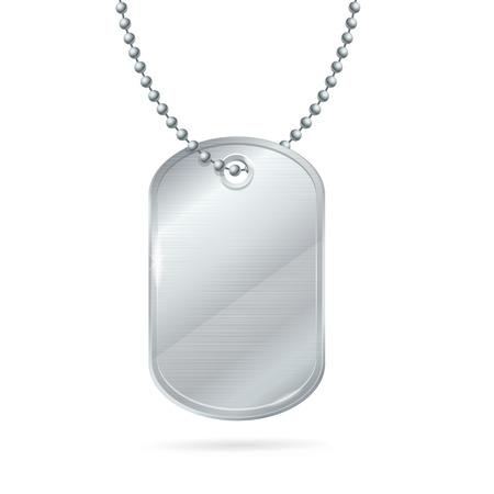 Military ID Tag Silver Army Medallion. Illustration
