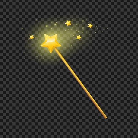 Varita mágica de oro con la estrella en el fondo transparente símbolo de la magia, la imaginación y la brujería. ilustración vectorial