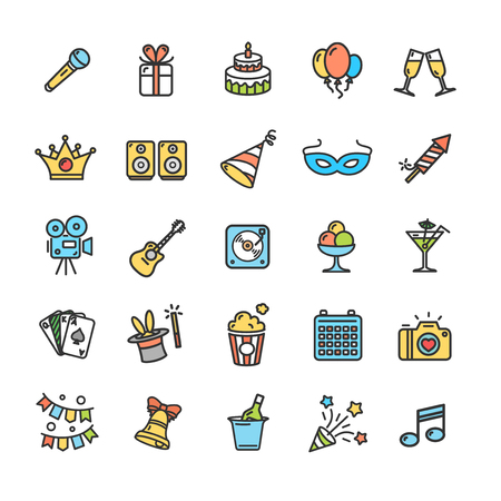 Party Icon Thin Line Color Set Pixel Perfect Art. Material Design. Vector illustration Illustration