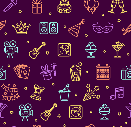 line material: Party Background Pattern on Dark. Icon Thin Line Set for Web Pixel Perfect Art. Material Design. Vector illustration