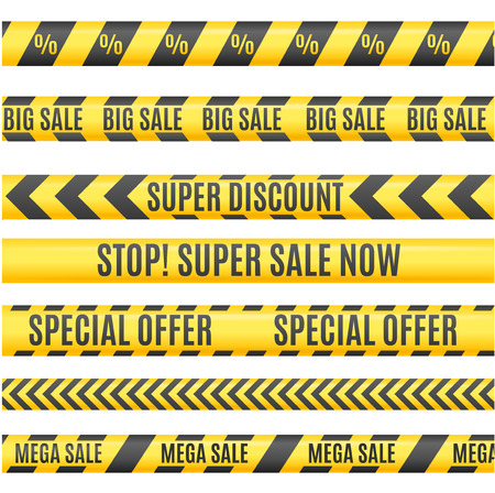 yellow line: Sale Labels Yellow Line Strip, Tape, Ribbon Set. Area Discounts. Vector illustration Illustration