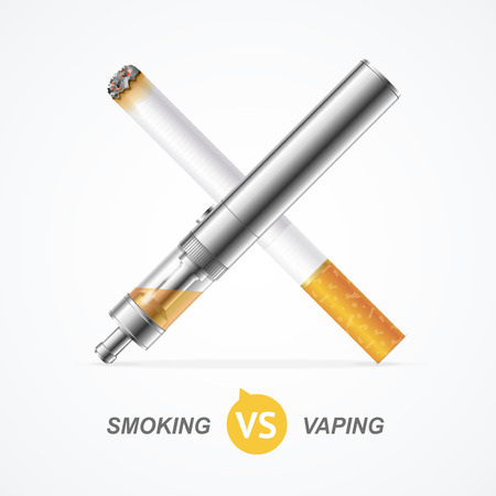 vaporized: Smoking vs Vaping. Vape Trend E-cigarette or Tobacco Cigarette. Vector illustration Illustration
